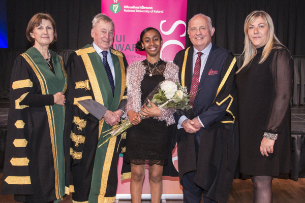 2018 NUI Club London Scholarship recipient Shylla Auguste, Shannon College of Hotel Management (centre) pictured with Dr Maurice Manning, NUI Registrar, Dr Attracta Halpin, Dr Phillip J Smyth, Head of College, Shannon College of Hotel Management and Ilze Arbab, Accommodations Manager, Clayton Hotel, Liffey Valley, Dublin.