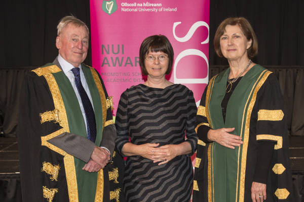 (L-R): Dr Maurice Manning, NUI Chancellor; Dr Ann Averill, 2018 NUI Dr Garret FitzGerald Fellow; Dr Attracta Halpin, NUI Registrar, pictured at the 2018 NUI Awards Ceremony.