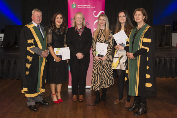 2018 UCC recipients of NUI Dr H H Stewart Medical Scholarships and Prizes in Nursing and Midwifery with NUI and UCC representatives (L-R) NUI Chancellor Dr Maurice Manning; Claire Cronin; Dr Angela Flynn, Director of Undergraduate Education, School of Nursing & Midwifery, UCC; Sarah Ann Twomey; Bronagh Nevin; NUI Registrar Dr Attracta Halpin.