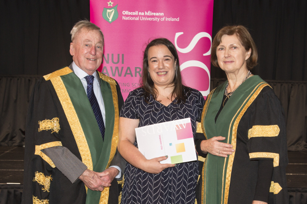 2018 NUI Art and Design prizewinner Jilly Hanrahan pictured at the 2018 NUI Awards Ceremony with NUI Chancellor, Dr Maurice Manning and NUI Registrar, Dr Attracta Halpin.