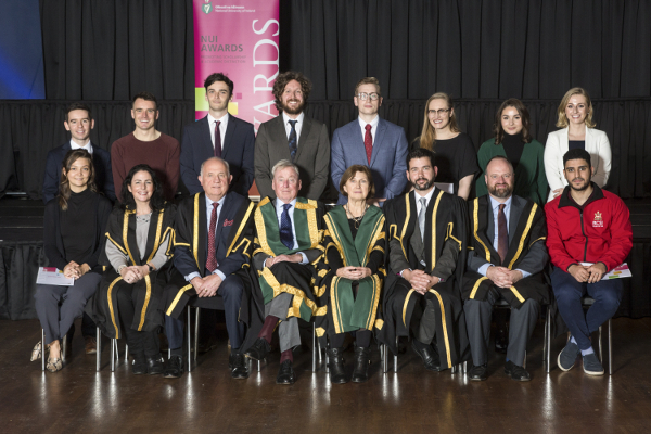 2018 RCSI recipients of NUI Dr H H Stewart Medical Scholarships and Prizes with Platform Party at 2018 NUI Awards Ceremony.