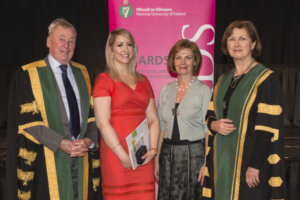 (L-R) NUI Chancellor Dr Maurice Manning; Dr H H Stewart Medical Scholarship in Nursing, Breanne Farrell and Dr Ursula Gilrane, both St. Angela's College, Sligo; NUI Registrar Dr Attracta Halpin.