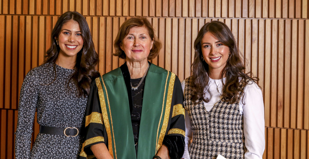 Sisters Ellen Atkinson and Eve Atkinson, pictured with NUI Registrar Dr Attracta Halpin, both received NUI Dr H H Stewart Medical Prizes in 2019 (Ophthalmology and Dentistry)