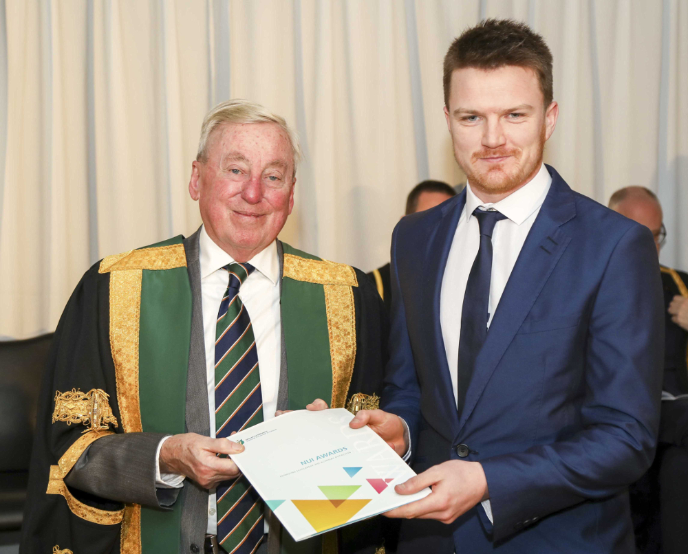 NUI Prize in Education 2019 recipient Micheál Murphy with Dr Manning