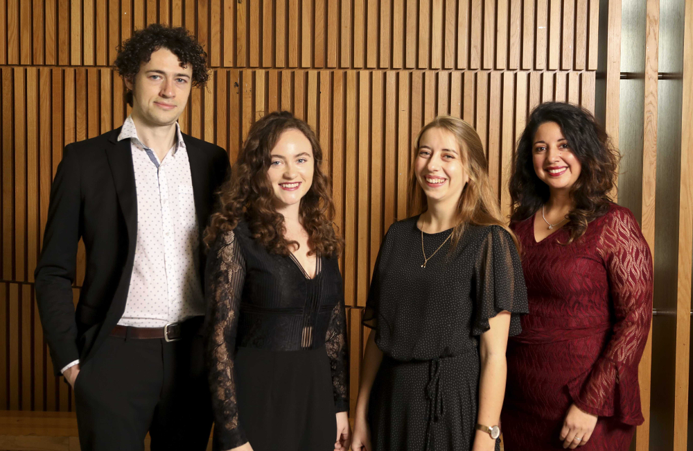 Recipients of NUI Travelling Studentships in the Humanities and Social Sciences 2019 L-R: Rory Corbett, Niamh Keady-Tabbal, Maria Cullen, and Maria Medina.
