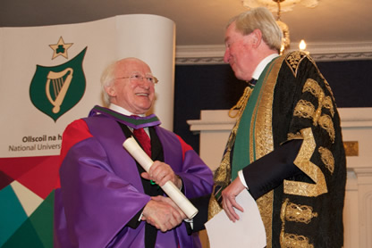 President Michael D Higgins and Dr Maurice Manning Chancellor NUI