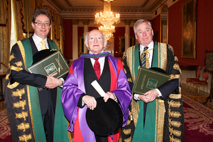 President Michael D Higgins, Dr Maurice Manning NUI Chancellor, Dr James Browne President NUI Galway