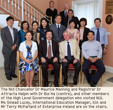 NUI Chancellor Dr Maurice Manning with NUI Registrar Dr Attracta Halpin and high level delegation of government officials from Vietnam