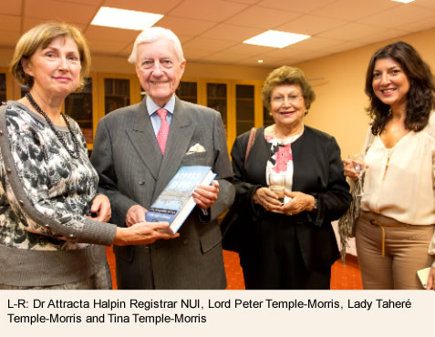 Dr Attracta Halpin Registrar NUI, Lord (Peter) Temple-Morris, Taheré Temple-Morris and Tina Temple-Morris