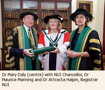 Professor Mary Daly with NUI Chancellor Dr Maurice Manning and Dr Attracta Halpin Registrar NUI