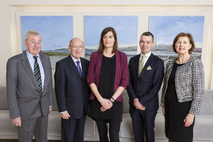 (L-R): Dr Maurice Manning, NUI Chancellor; Prof Patrick Clancy, Emeritus Professor of Sociology, UCD; Dr Aline Courtois, 2014 NUI Garret FitzGerald Fellow; Mr Martin McCormack , CEO, College of Anaesthetists; Dr Attracta Halpin, NUI Registrar