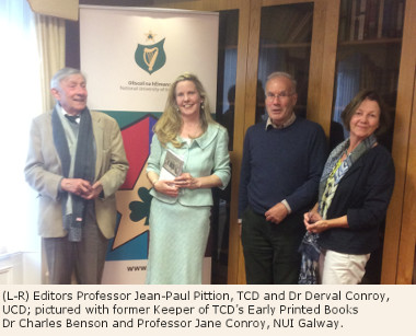 Photo (L-R) Editors Prof. Jean-Paul Pittion, TCD and Dr Derval Conroy, UCD; pictured with former Keeper of TCD's Early Printed Books Dr Charles Benson and Prof. Jane Conroy, NUI Galway.