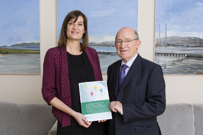 "2014 NUI Dr Garret FitzGerald Fellow Dr Aline Courtois presenting her research on ""The Significance of International Student Mobility in Students' Strategies at Third Level in Ireland"" in the College of Anaesthetists, 5 December 2017 with Prof Patrick Clancy, Emeritus Professor of Sociology, UCD"