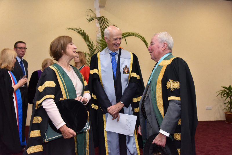 L-R: Dr Attracta Halpin, NUI Registrar; Prof Cathal Kelly, RCSI Registrar and Dr Maurice Manning NUI Chancellor at Perdana University Conferrings, Oct 2018.