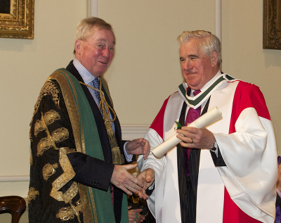 Professor John Coolahan Right with NUI Chancellor Dr Maurice Manning