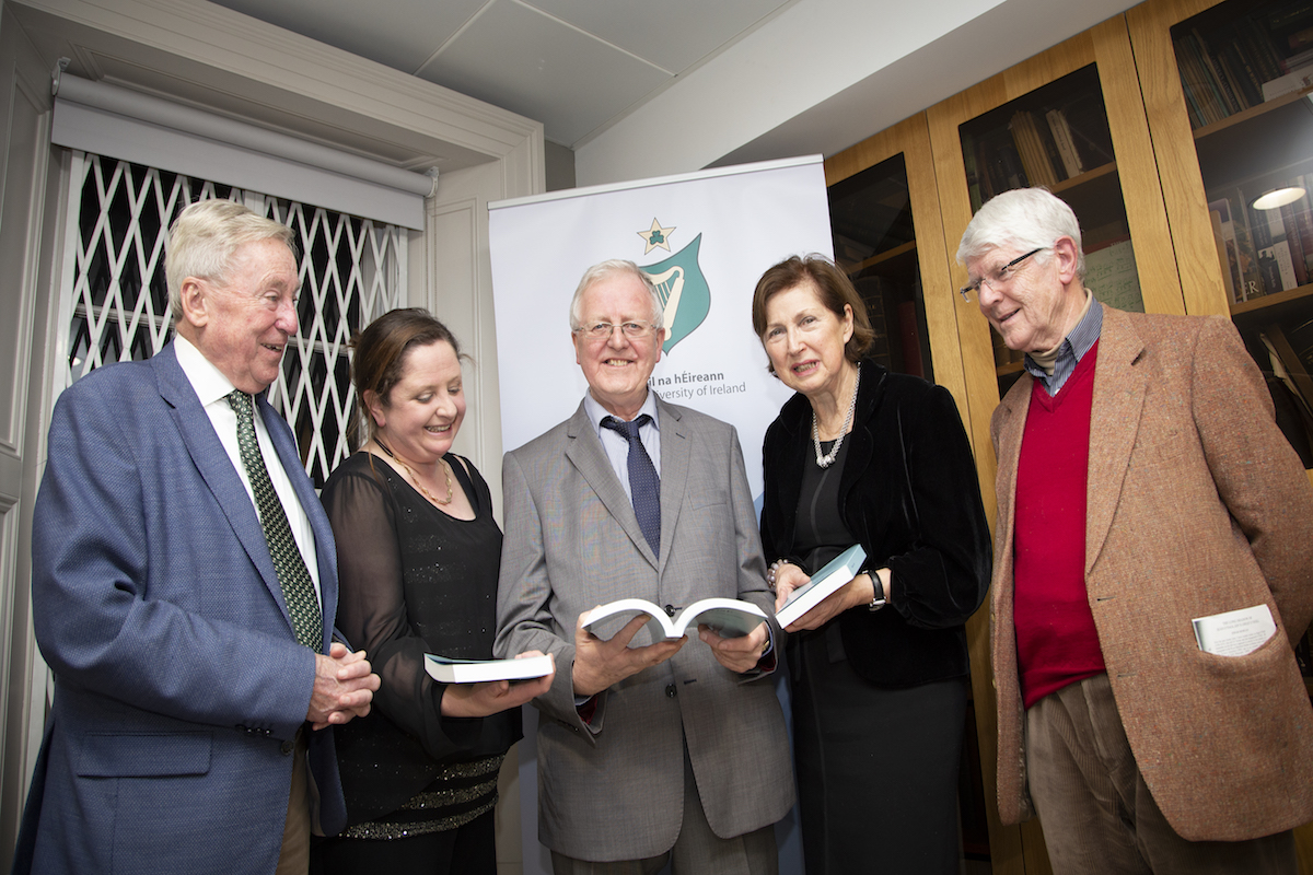 Dr Maurice Manning, Chancellor of NUI; Dr Emer Purcell, Publications Office, NUI; Professor Liam Mac Mathúna, Editor; Dr Attracta Halpin, Registrar, and Professor Pádraig Breatnach, editor of Éigse 1986-2010