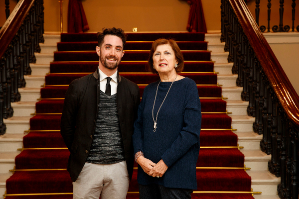 Fulbright-NUI Scholar Award 2019-2020 recipient Dr John Greaney with Dr Attracta Halpin, Registrar, NUI at the Fulbright Awards Ceremony in Dublin Castle in June 2019