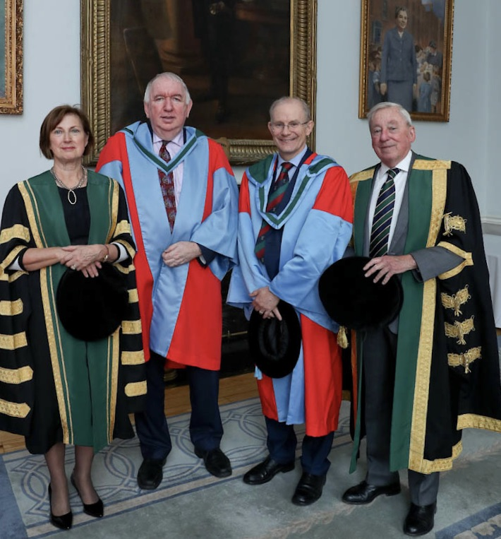 Left to right: Dr Attracta Halpin (NUI Registrar), Prof. Noel Gerrard McElvaney (RCSI), Prof. Hilary Humphreys (RCSI), Dr Maurice Manning (NUI Chancellor)