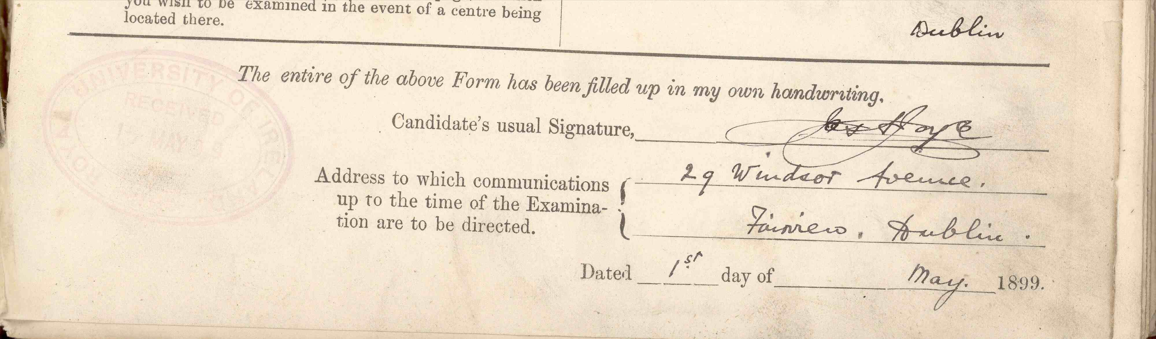 Signature of James Joyce on his Matriculation Application Form